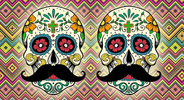 Diseño con 2 calaveras mexicanas utilizado en nuestros calcetines